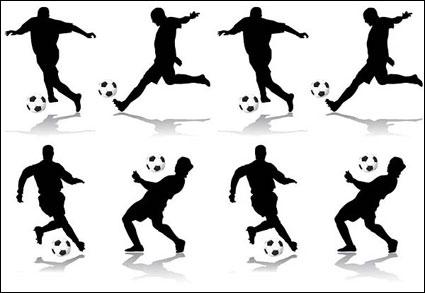 صورة ظلية لكرة القدم لشخصيات كرتونية